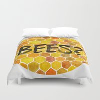 bees Duvet Covers featuring BEES? by Cat Coquillette