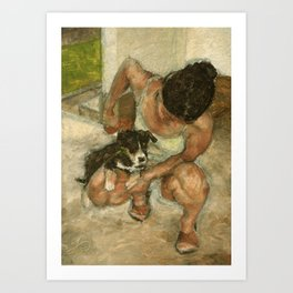 Girl Playing with Puppy Dog Impressionist Oil Painting Art Print