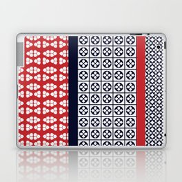 Japanese Style Ethnic Quilt Blue and Red Laptop & iPad Skin