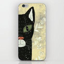 Black cat stare iPhone Skin