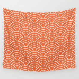 Wave Pattern in Orange and White Wall Tapestry