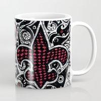 fleur de lis Mugs featuring Fleur de Lis Magenta by Janin Wise