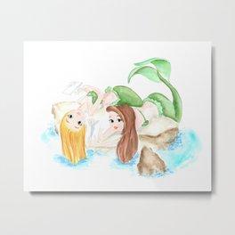 mermaid friends, watercolor painting original, best friend gifts ideas Metal Print