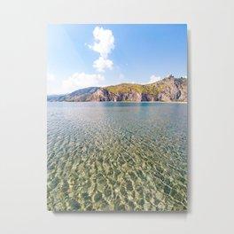 Tourquoise water natural pool sea canvas poster of sea tindari sicily Metal Print