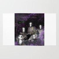 kodama Area & Throw Rugs featuring Forest Spirits (Kodama)   by pkarnold + The Cult Print Shop