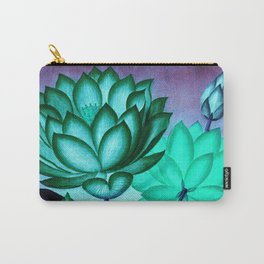 Mint Indigo Sacred Egyptian Bean: Temple of Flora Carry-All Pouch