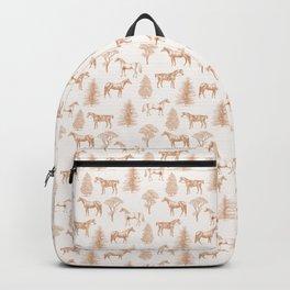 HORSES & TREES Golden Ochre pattern  Backpack