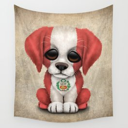 Cute Puppy Dog with flag of Peru Wall Tapestry