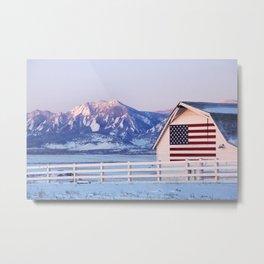 American Flag on a Barn with Boulder Colorado Flatirons  Metal Print