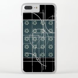 Black Green Grey Digital Daisy Abstract Clear iPhone Case