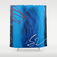 sin city Shower Curtains featuring Blue Sin by RvHART