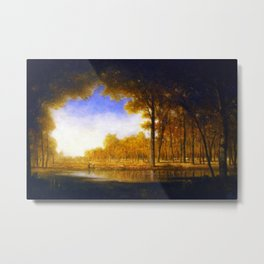 Autumn in the French Countryside, Fontainebleauu Forest landscape painting by Gilbert Munger Metal Print