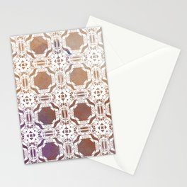 WHITE AND GOLD WATERCOLOR MOSAIC  Stationery Cards