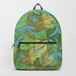 Tropical paradise of monstera leaves - seamless pattern Backpack