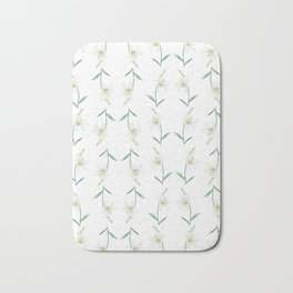 white lily watercolor Bath Mat