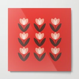 Tulip Field in Red Metal Print