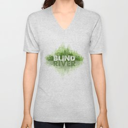 Blind River Trees (green) Unisex V-Neck