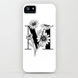 Monogram Letter M with Daisies Line Art  iPhone Case
