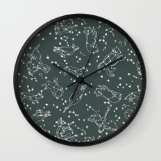 Animal Constellations - Gray by Andrea Lauren Wall Clock