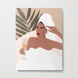 Woman with towel boho art, Bathroom art, Glass of champagne, Dressing room decor, Fashion, Aesthetic Metal Print