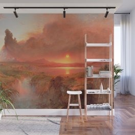 Ecuadorian Andes at Sunset, Cotopaxi volcano plains landscape painting by Frederic Edwin Church Wall Mural