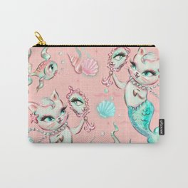 Merkittens with Pearls on blush Carry-All Pouch