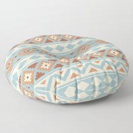 Aztec Essence Ptn IIIb Blue Crm Terracottas Floor Pillow