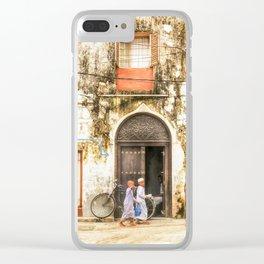 Kids walking in StoneTown Zanzibar 3620 Clear iPhone Case