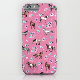 Pink Horse Print, Hand Drawn, Horses and Flowers, Girls Room, iPhone Case