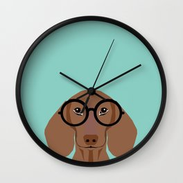 Remy - Daschund with Fashion glasses, hipster glasses, hipster dog, doxie,  Wall Clock