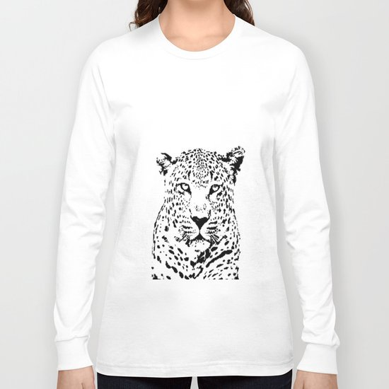 Leopard in Black and White Long Sleeve T-shirt
