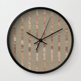 Rose gold stripes on natural grain Wall Clock