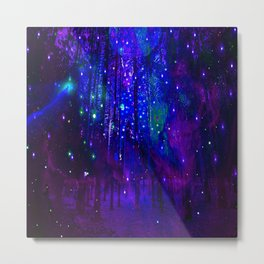TREES MOON AND SHOOTING STARS Metal Print