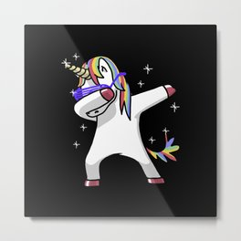Dabbing Unicorn Shirt Dab Hip Hop Funny Magic Metal Print