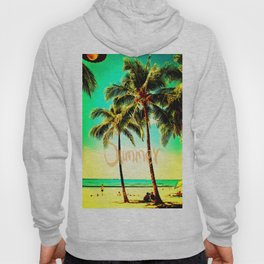 Green Yellow Vintage Palm Tree with Hawaii Summer Sea Beach Hoody