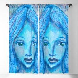Portrait in blue Blackout Curtain