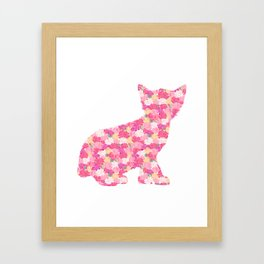 Kitten Silhouette with Peony Flowers Inlay Framed Art Print