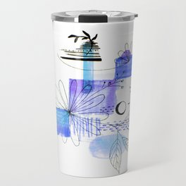 Navy Blue Simple Lines And Flowers Travel Mug