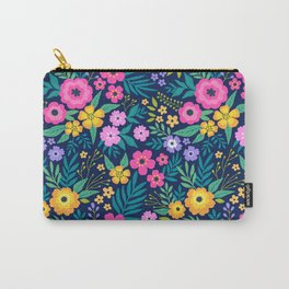 23 Amazing floral pattern with bright colorful flowers. Dark blue background. Carry-All Pouch