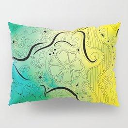 Green & Yellow Swirly Floral Dream Pillow Sham