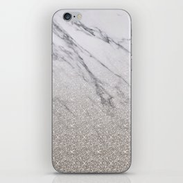 Beige glitter gradient on marble iPhone Skin