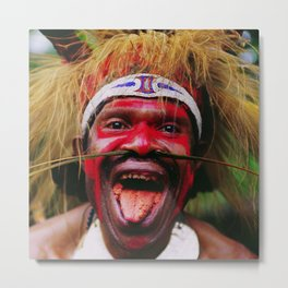 Eating a Betel Nut in Papua New Guinea Metal Print