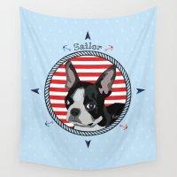 terrier Wall Tapestries featuring Sailor terrier by Kaissa Kkaissa
