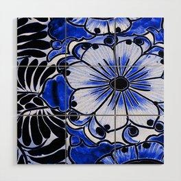 Indigo Blue Flower Wood Wall Art