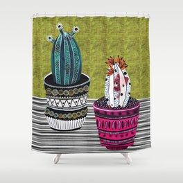 Cactus Collage by Veronique de Jong Shower Curtain