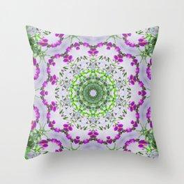 Purple Wildflower Kaleidoscope Art 5 Throw Pillow
