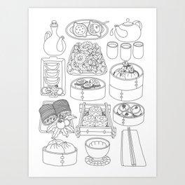 Sunday Dim Sum - Line Art Art Print