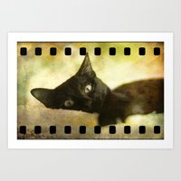kitty Art Prints featuring Kitty by SensualPatterns