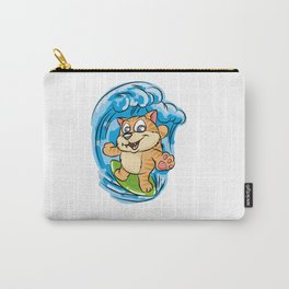SURFING KITTY Cat Wave Surfboard Cartoon Comic Carry-All Pouch