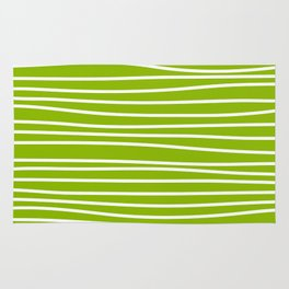 Apple Green & White Maritime Hand Drawn Stripes- Mix & Match with Simplicity of Life Rug